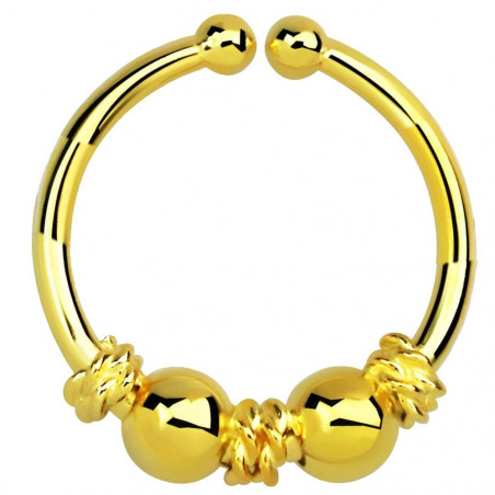 Faux piercing anneau doré motif Balinais