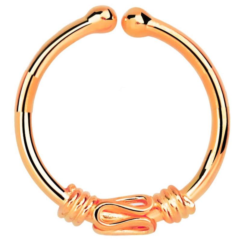Faux anneau de piercing or rose symbole Balinais