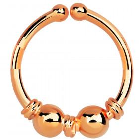 Faux anneau de piercing or rose double boule