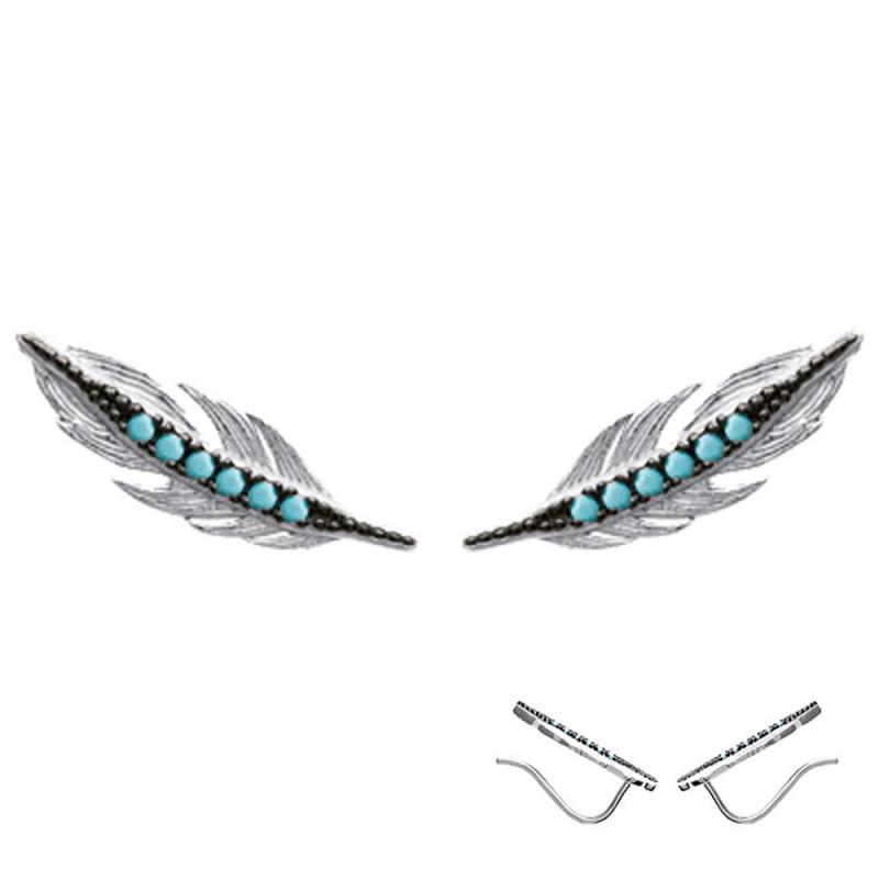Boucles d'oreilles Plume en Argent 925