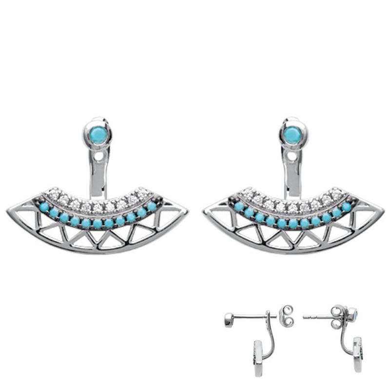 Boucles d'oreilles femme en Argent 925 strass turquoise