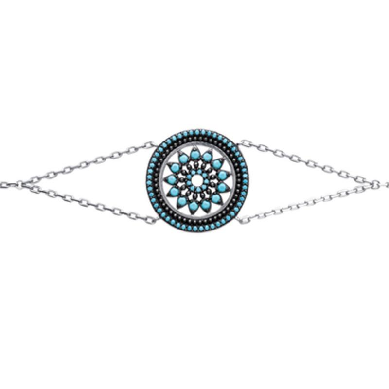 Bracelet femme en Argent 925 avec médaillon strass turquoise 18cm