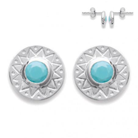 Boucles d'oreilles en Argent avec perle turquoise
