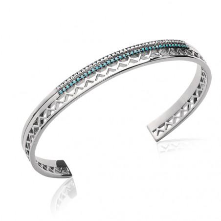 Bracelet jonc en Argent 925 strass turquoise et crystal 56mm