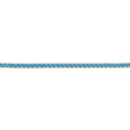 Bracelet fin pour femme en Argent 925 strass turquoise 18cm