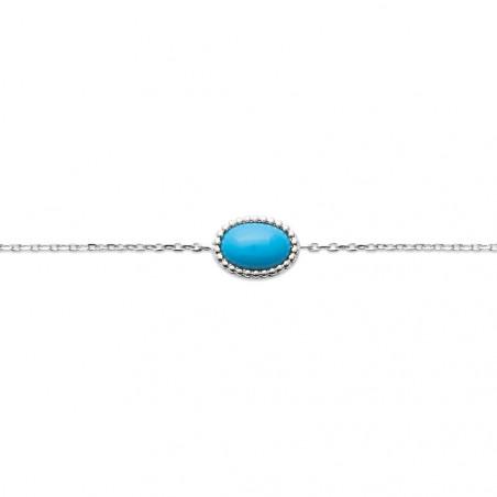 Bracelet en Argent 925 cabochon turquoise 18cm