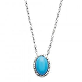 Collier en Argent 925 pendentif cabochon turquoise 45cm