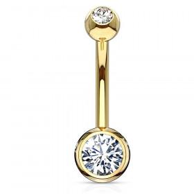 beau piercing nombril or jaune 18 carats piercing luxe