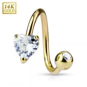 Piercing Spirale en Or massif 14 carats cristal forme Coeur pour femme