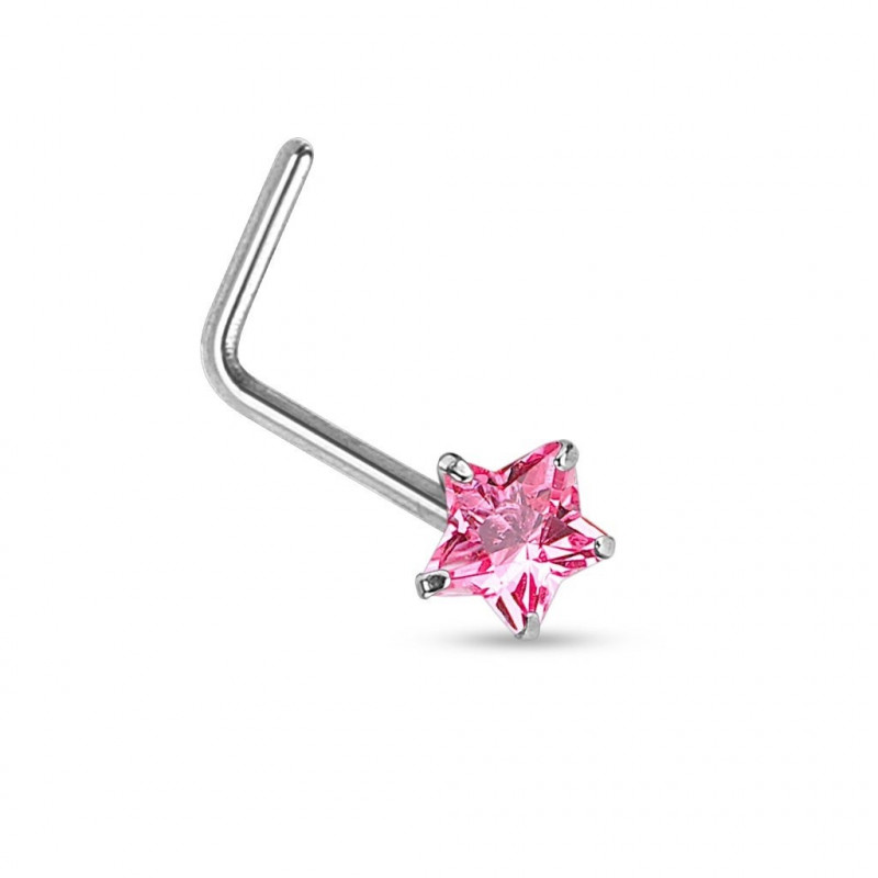 piercing nez or blanc étoile strass rose