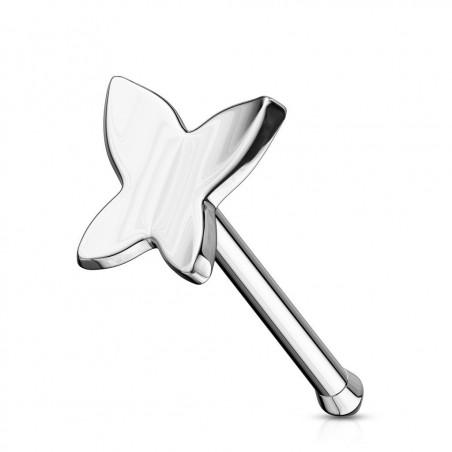 Piercing nez tige droite or Blanc papillon