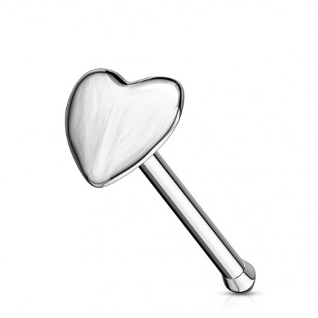 Piercing nez Or blanc coeur