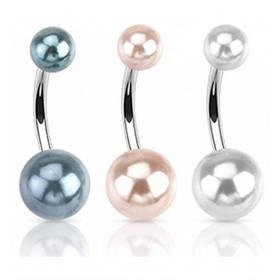 Pack trois Piercing nombril imitation perle