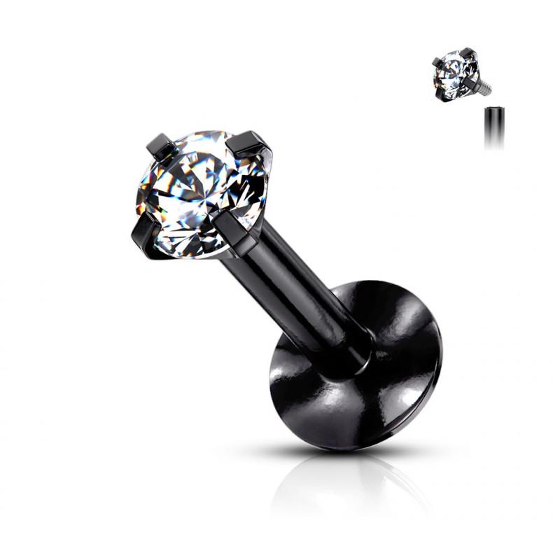 piercing labret acier noir mini strass