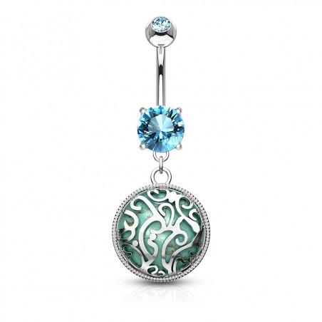 piercing nombril turquoise médaillon pendant