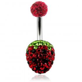 Piercing nombril cristal forme fraise