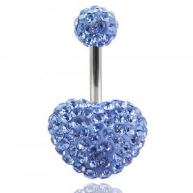 piercing nombril cristal coeur strass bleu ciel