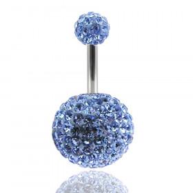 Piercing nombril double Cristal bleu ciel bille 12mm