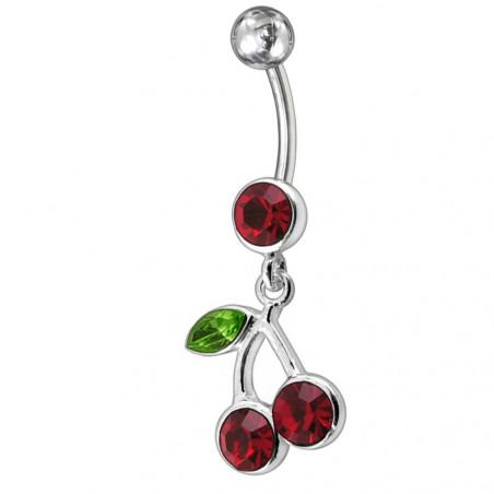 Piercing nombril pendant avec cerise rouge bijou en argent 925 barre acier chirurgical 316l haute qualité