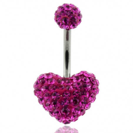 piercing nombril coeur swarovski rose fushia