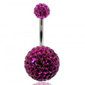 Piercing nombril double Cristal rose fuchsia bille 12mm