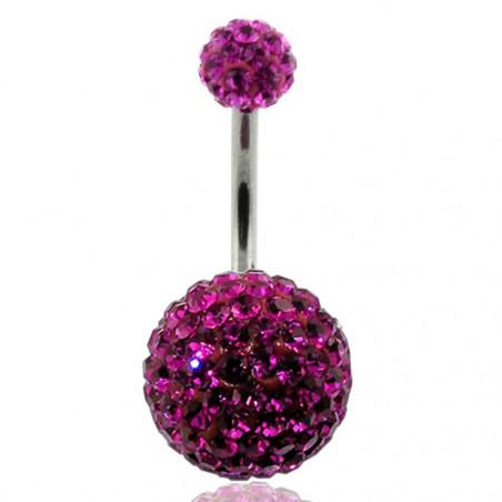 Piercing nombril double Cristal rose fushia bille 12mm