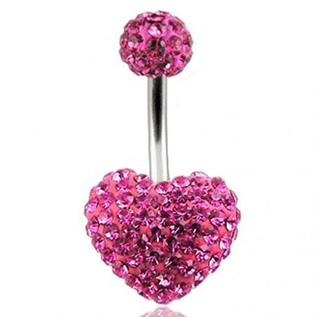 piercing nombril coeur rose Swarovski