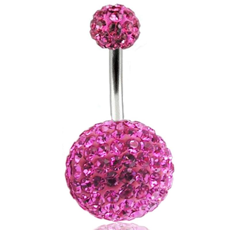 Piercing nombril double Cristal rose bille 12mm