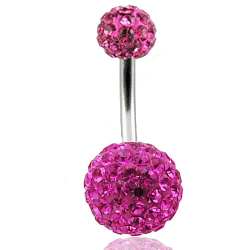 piercing nombril multi strass rose Swarovski
