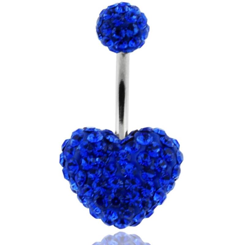 piercing nombril coeur Swarovski bleu roi