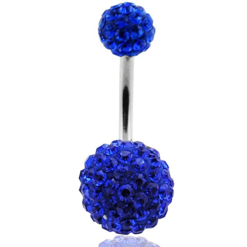 piercing nombril boule strass bleu roi