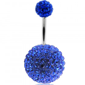 Piercing nombril double Cristal Bleu roi bille 12mm