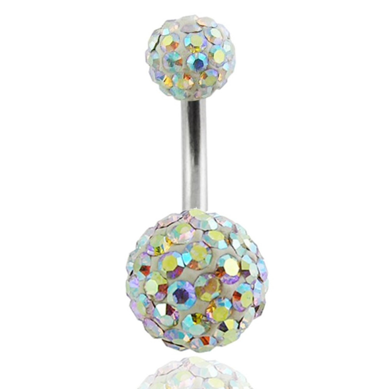 piercing nombril irisé multi strass paillette swarovski
