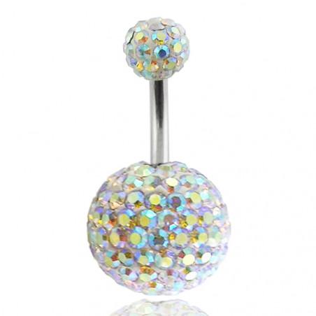 Piercing nombril double Cristal Irisé bille 12mm