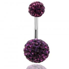 piercing ventre paillette strass violet