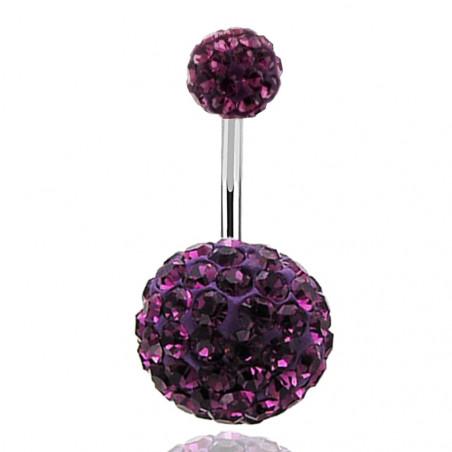 Piercing nombril double Cristal violet bille 12mm