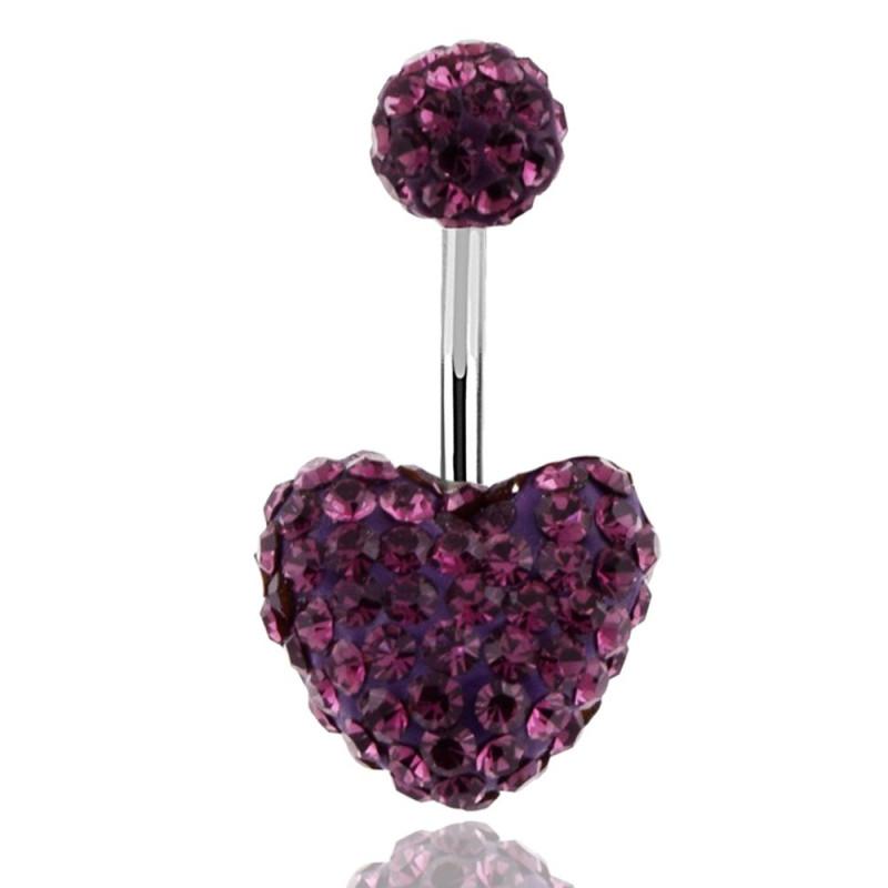 Piercing nombril motif coeur en cristal violet