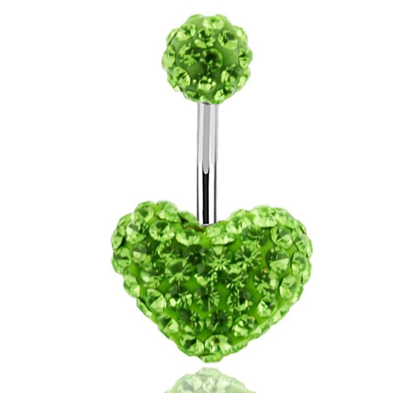 piercing coeur de nombril paillette cristal Swarovski vert