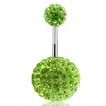 Piercing nombril double Cristal vert bille 12mm