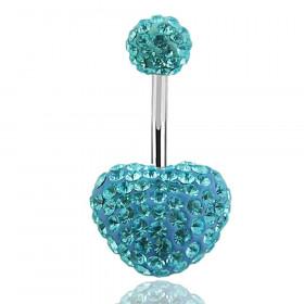 piercing nombril coeur swarovski bleu turquoise