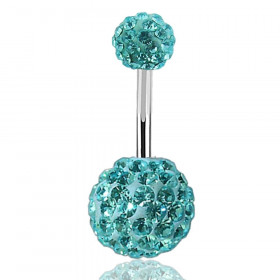 piercing nombril multi strass paillette swarovski turquoise
