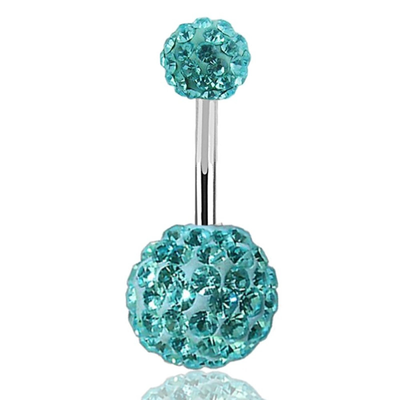 piercing nombril multi strass paillette swarovski turquoise