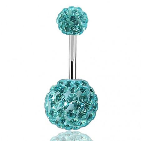 Piercing nombril double Cristal turquoise