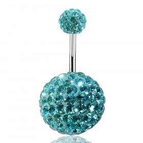 Piercing nombril double Cristal turquoise bille 12mm