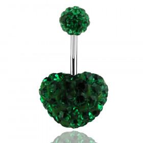 Piercing nombril motif coeur en cristal Vert émeraude