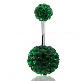 Piercing nombril double Cristal vert émeraude
