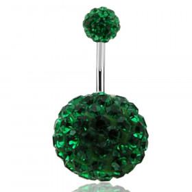 Piercing nombril double Cristal vert émeraude bille 12mm