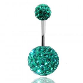 Piercing nombril double Cristal Bleu Tiffany