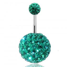 Piercing nombril double Cristal Bleu Tiffany bille 12mm