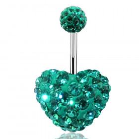 Piercing nombril motif coeur en cristal Bleu Tiffany